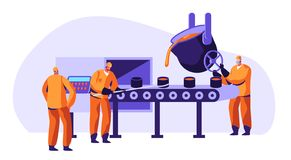 Metallurgy Industry Workers in Uniform Smelting Metal in Big Foundry and Pouring Hot Molten Steel or Iron Ore in Form Smelting. Metallurgy Industry Workers in vector illustration