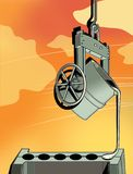 Metallurgy. A ladle with molten metal pours metal into round shapes. Industry. Against the background of a red sky with clouds.  vector illustration