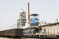 Metallurgy oven and  trains. Metallurgy oven and cargo traines Royalty Free Stock Photos