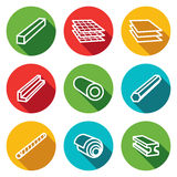 Metallurgy products flat icons collection Stock Photos