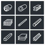 Metallurgy products icons collection Stock Photography
