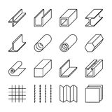 Metallurgy products line vector icons Stock Photo