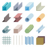 Metallurgy products vector icons. Isometric 3d elements. Industry material iron metal illustration Royalty Free Stock Photo