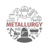 Metallurgy Vector Isolated Flat Icons Set. Metallurgy icons. Vector signs for web graphics stock illustration