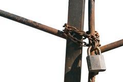 Metallvorhängeschloß auf der Kette Stockbild