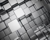 Metallwürfelhintergrund Stockfoto