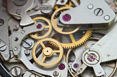 Metallzahnräder im Uhrwerk, Konzept-Teamwork Lizenzfreie Stockfotografie
