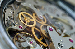 Metallzahnräder im Uhrwerk, Konzept-Teamwork Stockfoto