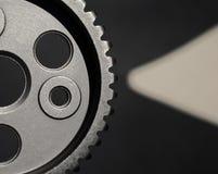 Metallzahnrad und ein Zeiger stockfoto