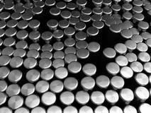 Metallzylinderhintergrund Stockfotos