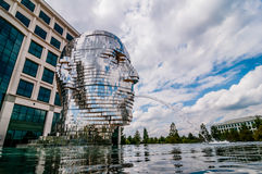 Metalmorphosis Mirror Fountain by, David Černý Stock Photo