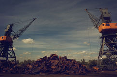 Metals recycling cranes. With metal claws Stock Photography