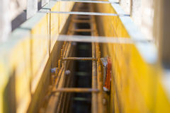 Metals rod supports on construction site Stock Photo