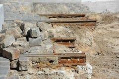 Metals of tramway repair. Repair of metals on old tramway track Royalty Free Stock Image