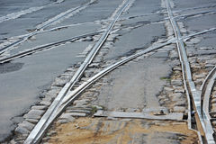 Metals of tramway. Shot of metals on old tramway track Stock Photography