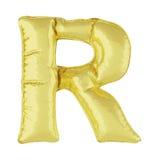 Metalu balon na białym tle Złoty list R Rabaty, sprzedaże, wakacje, rocznicy Zdjęcia Stock