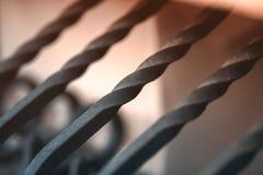 Metalu czerni ogrodzenie z złocistymi elementami zdjęcia royalty free