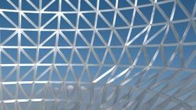Metalu 3D drutu rama z niebieskiego nieba tłem, abstrakcjonistyczna sztuka, część sfera render Ilustracja Wektor