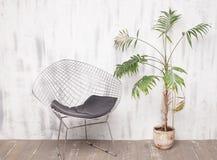 Metalu holu krzesło i drzewko palmowe w jaskrawym wnętrzu Obraz Royalty Free