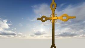 Metalu krzyż przeciw niebu z chmurami ilustracji