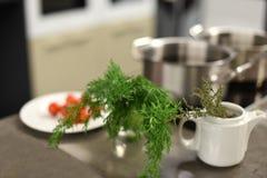 Metalu kuchennego stołu powierzchnia z warzywami przygotowywał dla gotować i metalu rondla Fotografia Stock