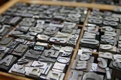 Metalu Letterpress Pisać na maszynie wewnątrz drukarkom skrzynkę Obraz Stock