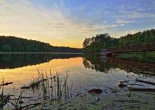 Metalu molo na jeziorze Fotografia Royalty Free