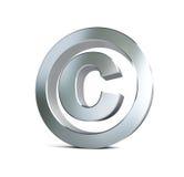Metalu prawa autorskiego znaka 3d ilustracje Fotografia Royalty Free