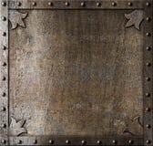 Metalu średniowieczny drzwiowy tło Zdjęcia Royalty Free