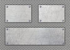 Metalu signboard, drapająca rama jako tło, żelazo talerz, 3d, i Obraz Stock