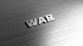 Metalu słowa wojna na metal powierzchni świadczenia 3 d Fotografia Stock