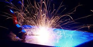 Metalu spaw z iskrami Fotografia Stock