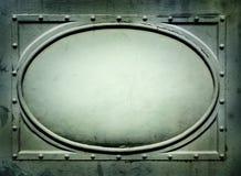 Metalu szyldowy talerz z owal ramą Zdjęcia Royalty Free