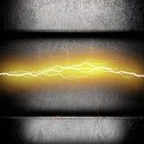 Metalu tło z elektryczną błyskawicą Zdjęcie Royalty Free