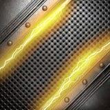 Metalu tło z elektryczną błyskawicą Obrazy Royalty Free