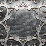 Metalu talerz z rzeźbiącym wzorem Zdjęcie Royalty Free