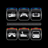 Metalu talerza konsoli tematu ikony gemowy guzik Obrazy Royalty Free