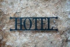 Metalu znak dla hotelu w Slovenia obraz royalty free