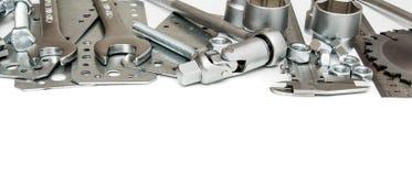 metalwork Правитель, ключ, винт и другие инструменты стоковая фотография rf