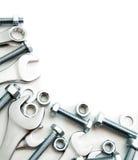 metalwork Приспособление металла, гаечный ключ на белизне стоковое фото