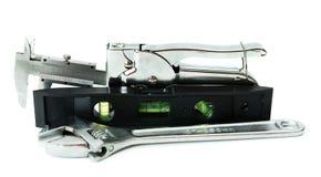 metalwork Chave, compasso de calibre e outro ferramentas sobre imagens de stock royalty free