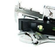 metalwork Clé, calibre et d'autres outils dessus photographie stock
