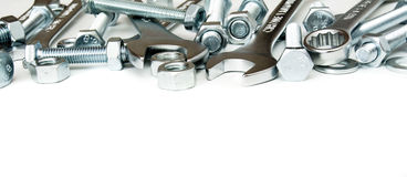 metalwork Dispositivo del metallo, chiave su un bianco immagine stock
