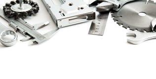 metalwork Grampeador, serra, chave e outro ferramentas fotografia de stock royalty free