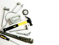 metalwork Hammare, häftapparat och andra hjälpmedel på fotografering för bildbyråer