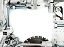 metalwork Linjal, skiftnyckel, skruv och andra hjälpmedel arkivbilder