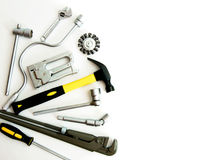 metalwork Marteau, agrafeuse et d'autres outils dessus image stock