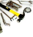 metalwork Marteau, agrafeuse et d'autres outils dessus images stock