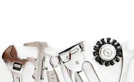 metalwork Règle, calibre et d'autres outils dessus photo stock
