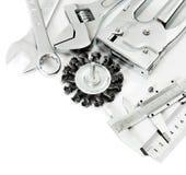 metalwork Règle, calibre et d'autres outils dessus photo libre de droits